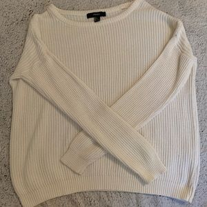 Large Cream Ribbed Forever 21 Sweater